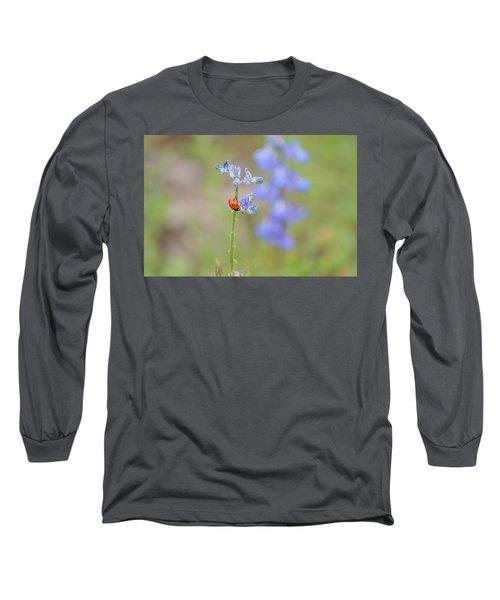 Blue Bonnets And A Lady Bug Long Sleeve T-Shirt by Carolina Liechtenstein