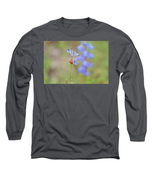 Blue Bonnets And A Lady Bug Long Sleeve T-Shirt