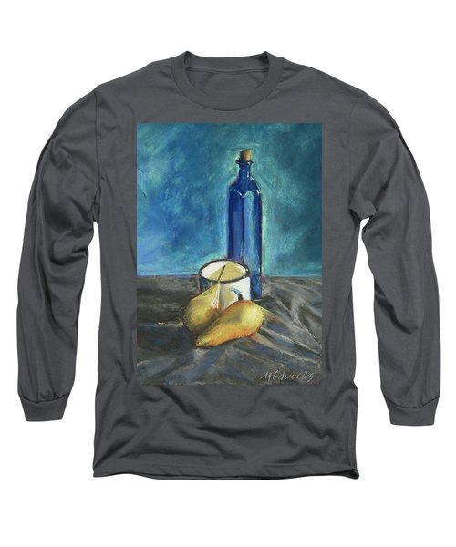 Blue Bottle And Pears Long Sleeve T-Shirt by Marna Edwards Flavell