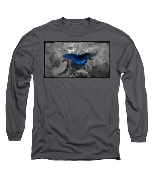 Long Sleeve T-Shirt featuring the digital art Blue Butterfly In Charcoal And Vibrant Aqua Paint by MendyZ