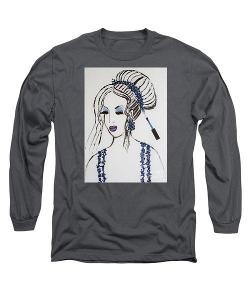 Blue Color Fan Long Sleeve T-Shirt