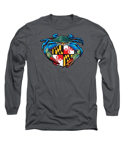 Blue Crab Maryland Crest Long Sleeve T-Shirt