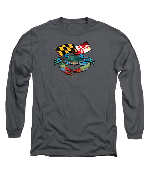 Blue Crab Maryland Flag Long Sleeve T-Shirt