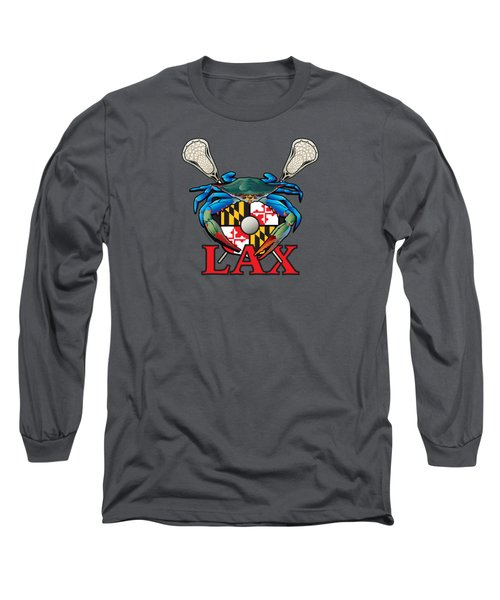 Blue Crab Maryland Lax Crest Long Sleeve T-Shirt