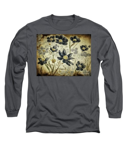 Long Sleeve T-Shirt featuring the digital art Blue Daisies by Lois Bryan