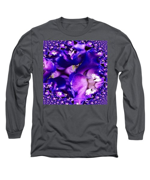 Blue Delphinium Abstracted Long Sleeve T-Shirt by Anna Porter