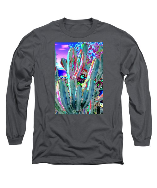 Long Sleeve T-Shirt featuring the photograph Blue Flame Cactus Abstract by M Diane Bonaparte