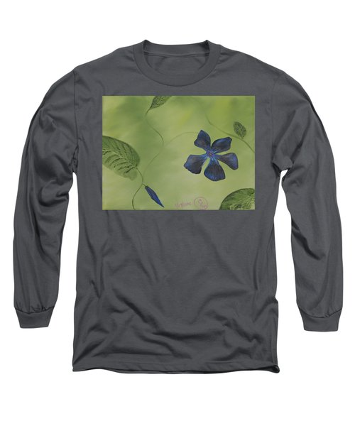Blue Flower On A Vine Long Sleeve T-Shirt