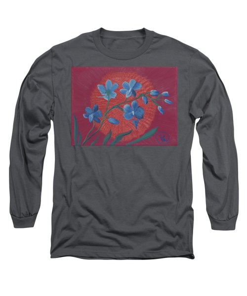 Blue Flower On Magenta Long Sleeve T-Shirt