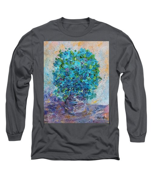 Blue Flowers In A Vase Long Sleeve T-Shirt