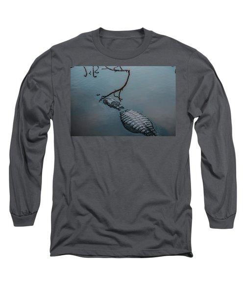 Blue Gator Long Sleeve T-Shirt by Josy Cue