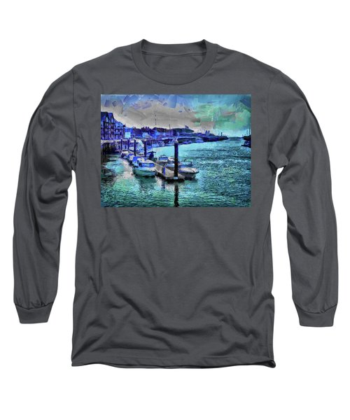 Long Sleeve T-Shirt featuring the digital art Blue Harbour by Leigh Kemp