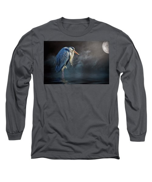 Blue Heron Moon Long Sleeve T-Shirt by Brian Tarr