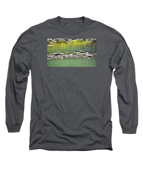 Blue Heron On The Chattahoochie Long Sleeve T-Shirt by James Potts