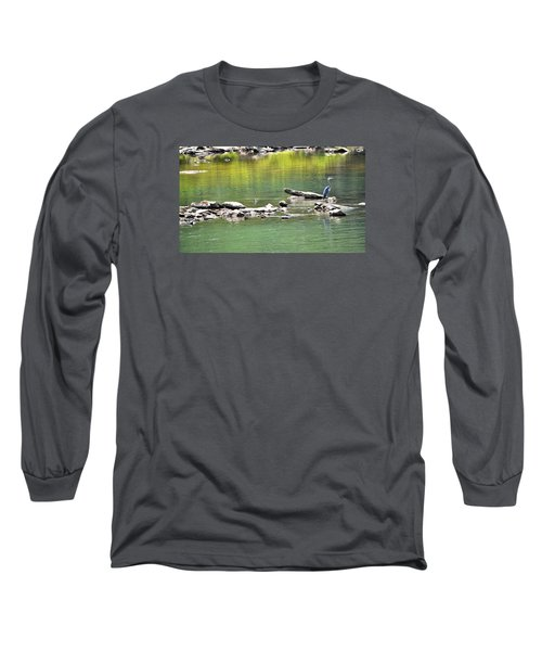 Blue Heron On The Chattahoochie Long Sleeve T-Shirt