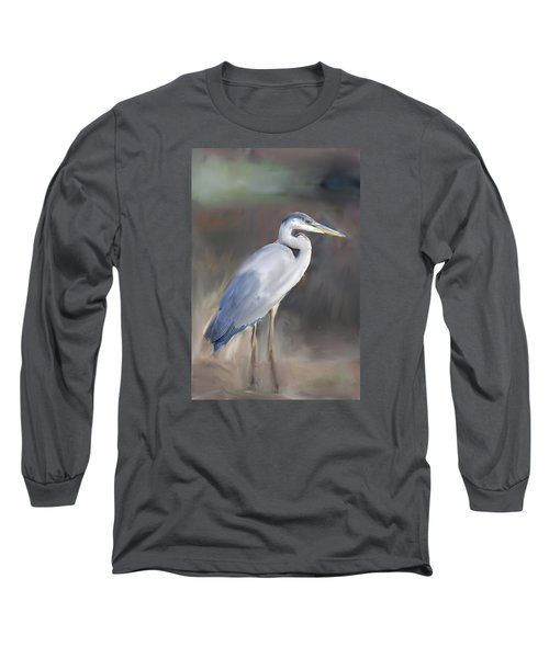 Blue Heron Painting  Long Sleeve T-Shirt by Don  Wright