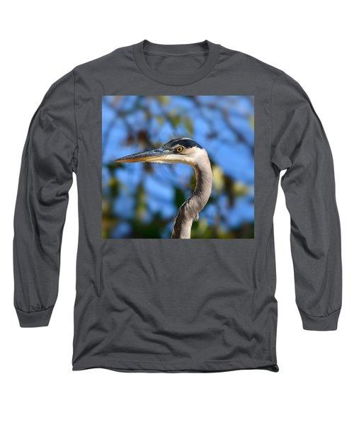 Blue Heron Profile Long Sleeve T-Shirt by Kathy Eickenberg