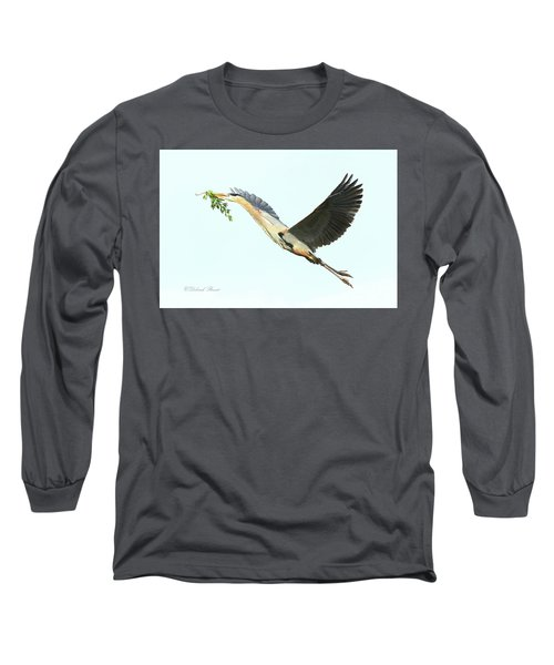 Long Sleeve T-Shirt featuring the photograph Blue Heron Series Twig 2017 by Deborah Benoit