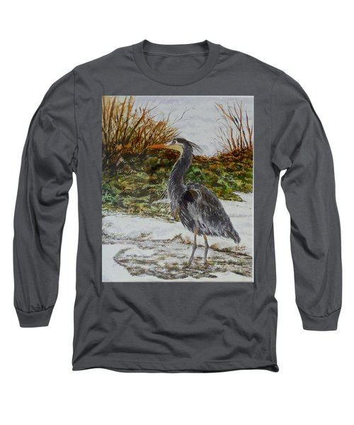 Long Sleeve T-Shirt featuring the painting Blue Heron by Sher Nasser