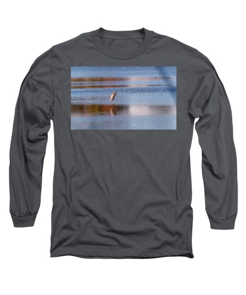 Blue Heron Standing In A Pond At Sunset Long Sleeve T-Shirt