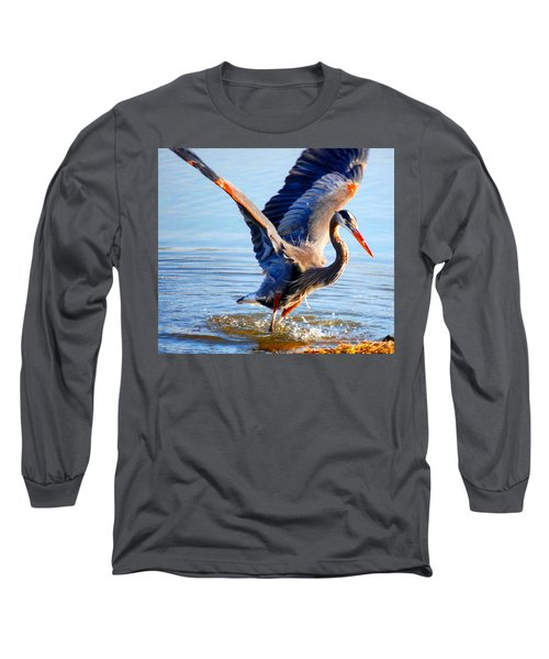 Blue Heron Long Sleeve T-Shirt by Sumoflam Photography