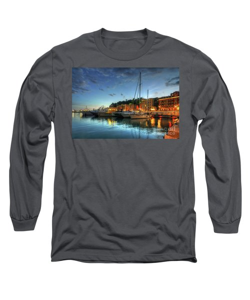 Long Sleeve T-Shirt featuring the photograph Blue Hour At Port Nice 2.0 by Yhun Suarez