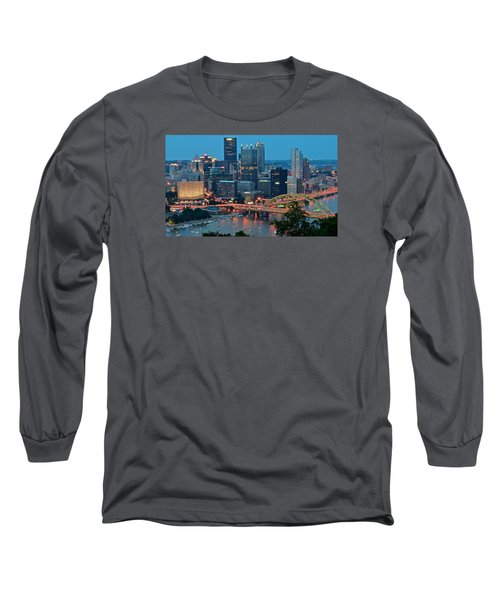 Blue Hour In Pittsburgh Long Sleeve T-Shirt by Frozen in Time Fine Art Photography