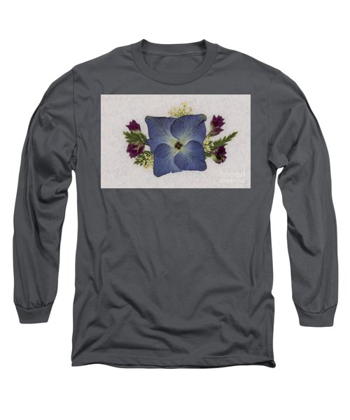 Blue Hydrangea Pressed Floral Design Long Sleeve T-Shirt