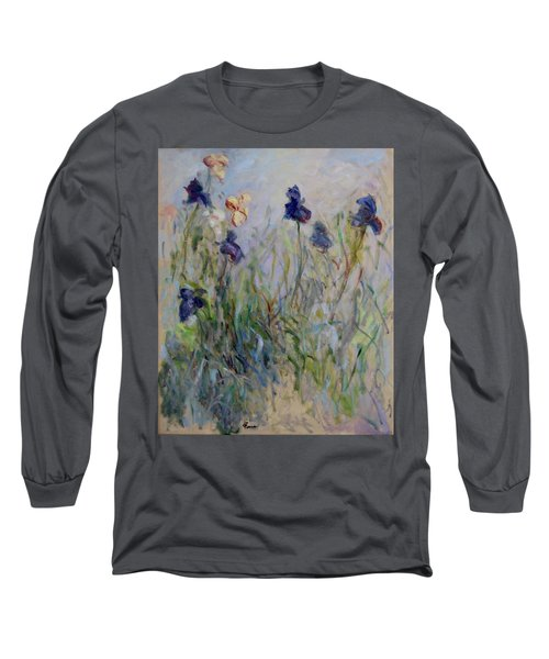 Blue Irises In The Field, Painted In The Open Air  Long Sleeve T-Shirt by Pierre Van Dijk