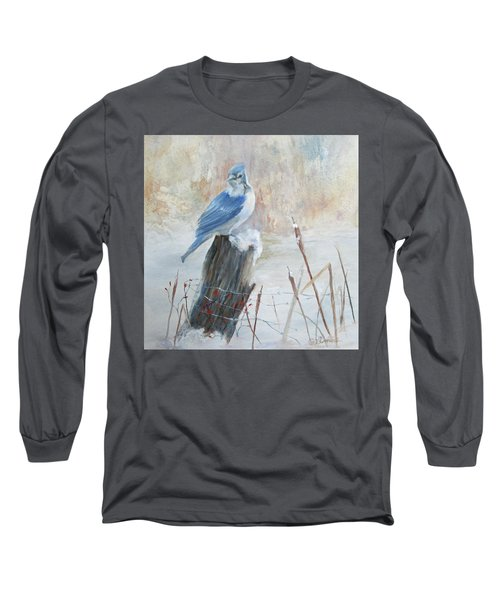 Long Sleeve T-Shirt featuring the painting Blue Jay In Winter by Roseann Gilmore