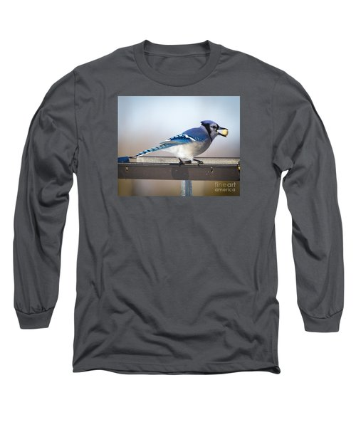 Long Sleeve T-Shirt featuring the photograph Blue Jay With A Mouth Full by Ricky L Jones