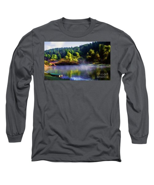 Blue Lake Spring Misty Geese  Long Sleeve T-Shirt