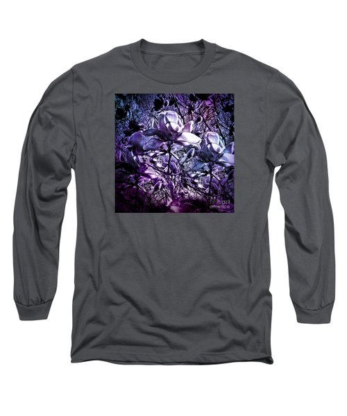 Blue Magnolias Long Sleeve T-Shirt by Karen Lewis