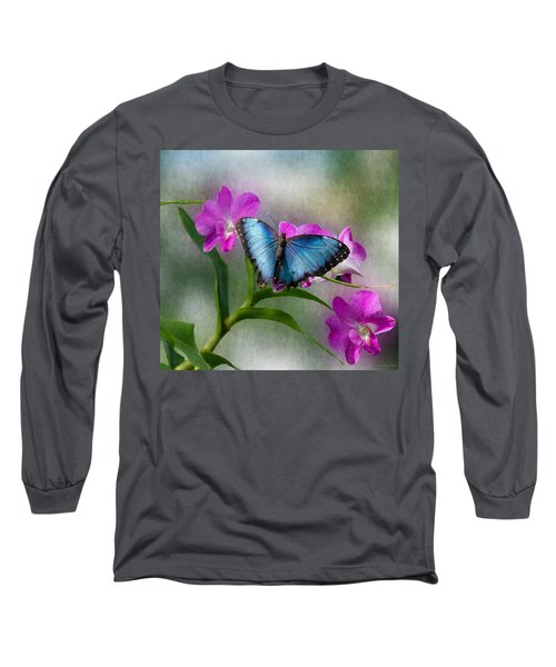 Blue Morpho With Orchids Long Sleeve T-Shirt