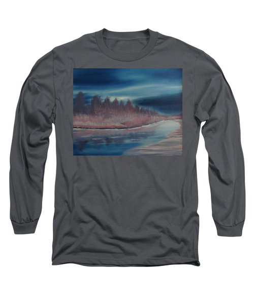 Long Sleeve T-Shirt featuring the painting Blue Nightfall Evening by Rod Jellison