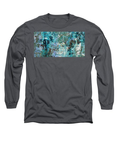 Long Sleeve T-Shirt featuring the painting Blue Ocean - Abstract Art by Carmen Guedez