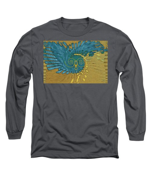 Long Sleeve T-Shirt featuring the digital art Abstract Blue Owl by Ben and Raisa Gertsberg