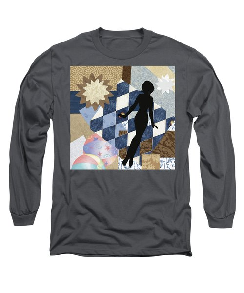 Blue Paper Doll Long Sleeve T-Shirt