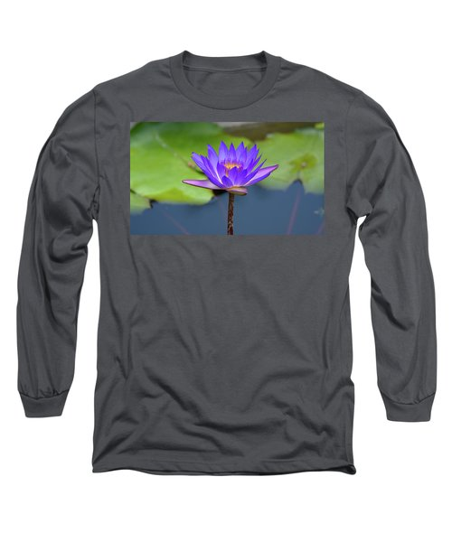 Blue Purple And Orange Water Lily Long Sleeve T-Shirt