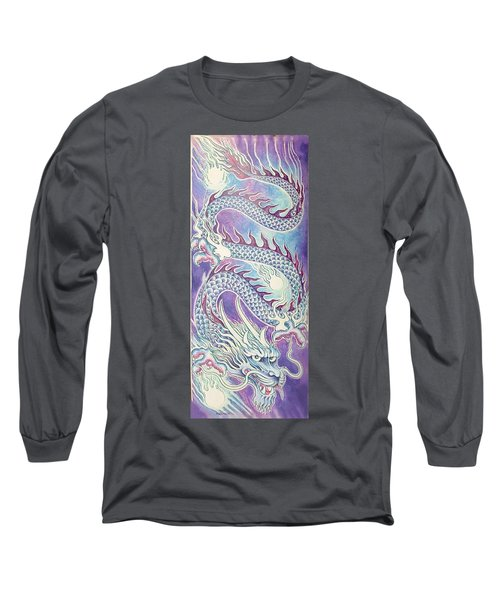 Blue Purple Japanese Dragon Long Sleeve T-Shirt