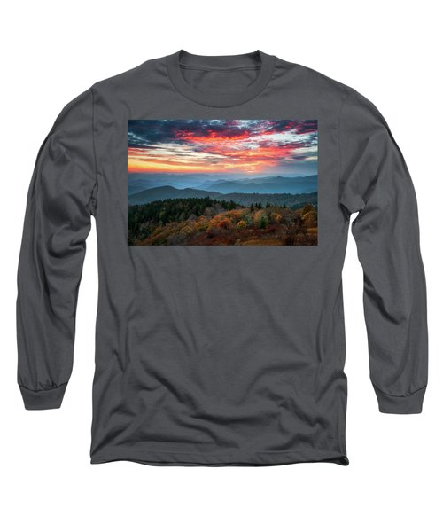 Blue Ridge Parkway Autumn Sunset Scenic Landscape Asheville Nc Long Sleeve T-Shirt