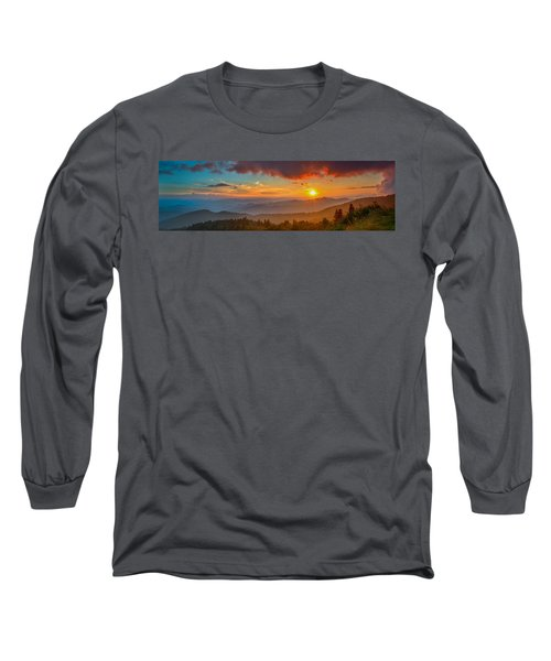 Blue Ridge Sunset Pano Long Sleeve T-Shirt