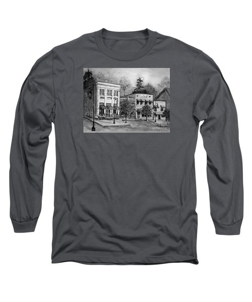 Long Sleeve T-Shirt featuring the painting Blue Ridge Town In Bw by Gretchen Allen