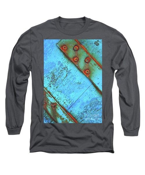 Blue Rusty Boat Detail Long Sleeve T-Shirt by Lyn Randle