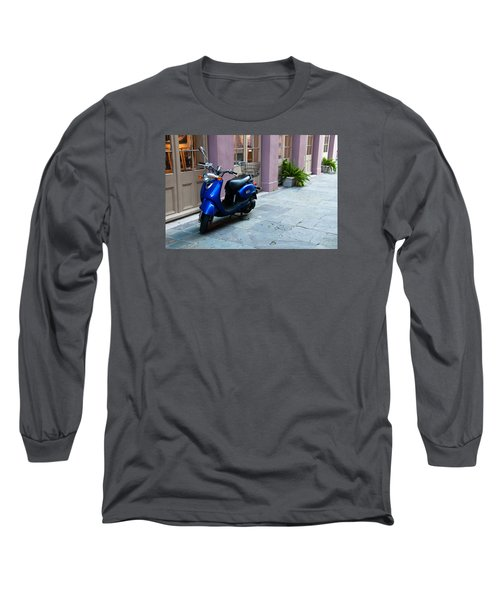 Long Sleeve T-Shirt featuring the photograph Blue Scooter by Monte Stevens