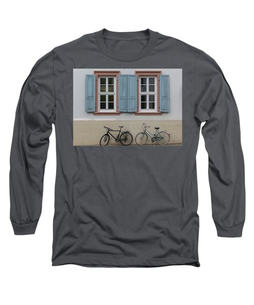 Blue Shutters And Bicycles Long Sleeve T-Shirt