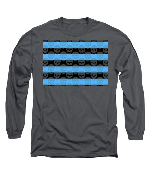 Blue Skull Stripes Long Sleeve T-Shirt by Roseanne Jones