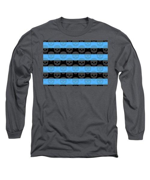 Blue Skull Stripes Long Sleeve T-Shirt