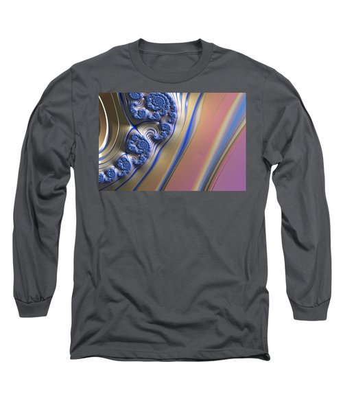 Blue Swirly Fractal 2 Long Sleeve T-Shirt by Bonnie Bruno