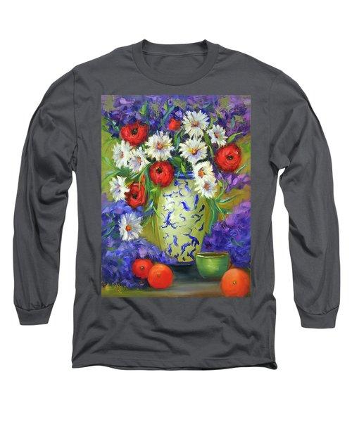 Blue Vase Flowers Long Sleeve T-Shirt
